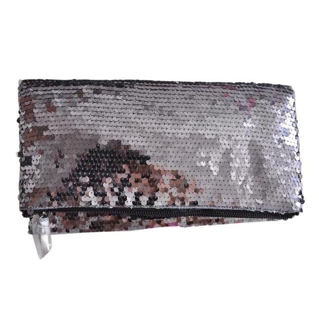 BCBGeneration Metallic Fold Over Silver Sequin Clutch BCBGeneration Metallic Fold Over Silver Sequin Clutch Image 1