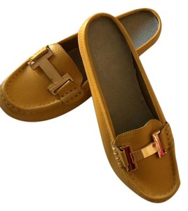 None Slipper Crafted Gold Metal Yellow Mules