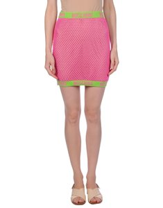 Moschino Monogram Logo Letters Crochet Swimsuit Mini Skirt Pink