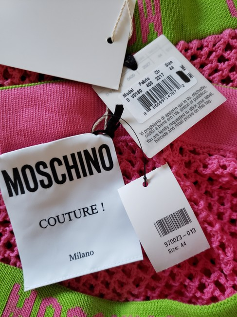 Moschino Monogram Logo Letters Crochet Swimsuit Mini Skirt Pink Image 10