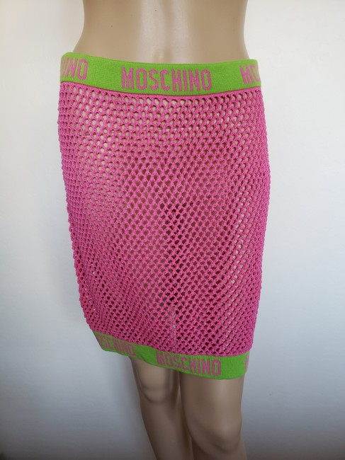 Moschino Monogram Logo Letters Crochet Swimsuit Mini Skirt Pink Image 2