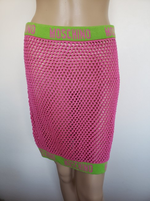 Moschino Monogram Logo Letters Crochet Swimsuit Mini Skirt Pink Image 4