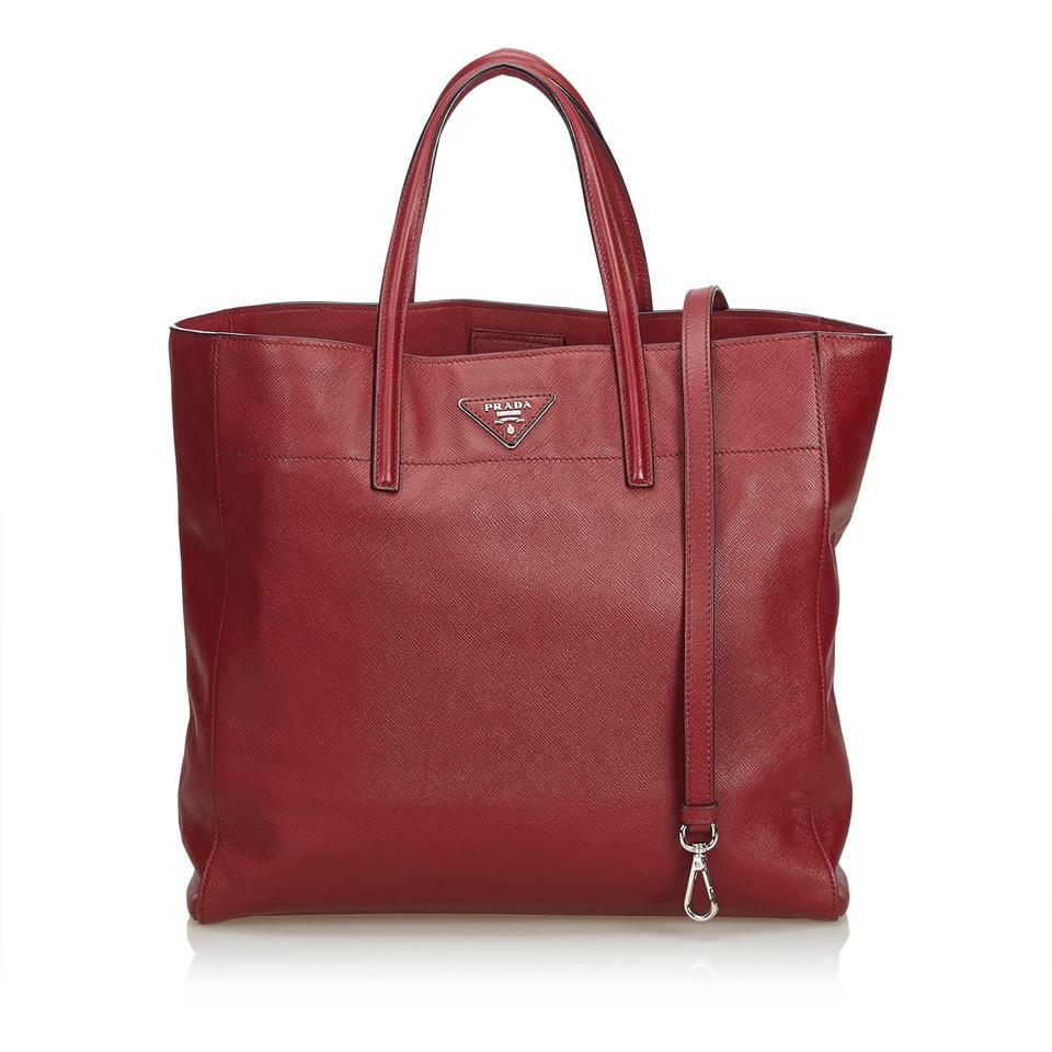 bdc04e6559ecf8 Prada Bordeaux Saffiano Soft Tote Italy Large Red Leather Satchel ...