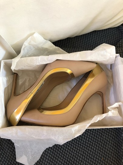 Manolo Blahnik Nude beige gold metallic Pumps Image 4