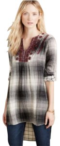 Anthropologie short dress Gray/Black/White/Red Plaid Tunic Floreat Embroidered High Low on Tradesy