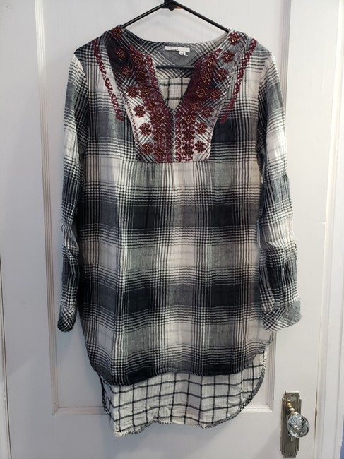 Anthropologie short dress Gray/Black/White/Red Plaid Tunic Floreat Embroidered High Low on Tradesy Image 3