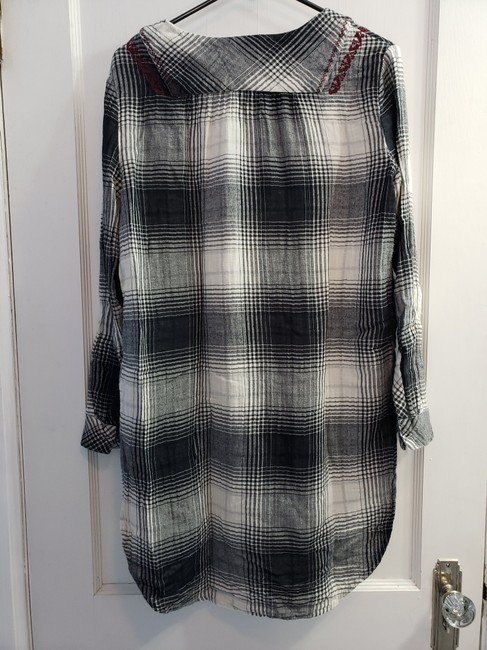 Anthropologie short dress Gray/Black/White/Red Plaid Tunic Floreat Embroidered High Low on Tradesy Image 6