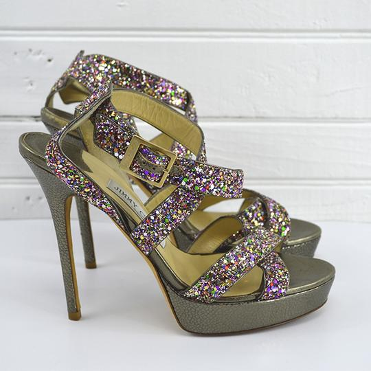 Jimmy Choo Fall Luxury Spring Night Out Date Night SILVER/ PURPLE/ RED/ GREEN Platforms Image 2