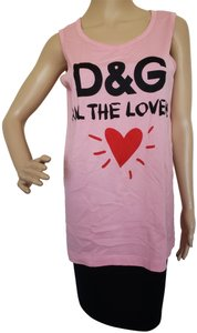 Dolce&Gabbana Logo Monogram Floral Sleeveless All The Lovers T Shirt Pink