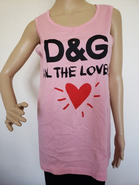 Dolce&Gabbana Logo Monogram Floral Sleeveless All The Lovers T Shirt Pink Image 2