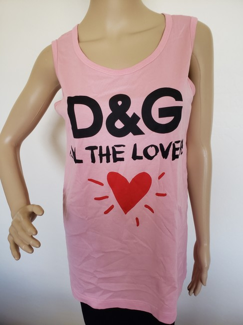Dolce&Gabbana Logo Monogram Floral Sleeveless All The Lovers T Shirt Pink Image 3