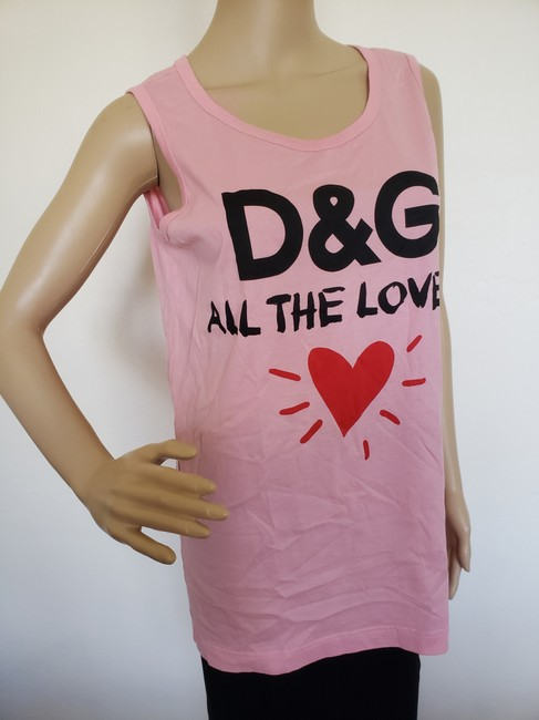 Dolce&Gabbana Logo Monogram Floral Sleeveless All The Lovers T Shirt Pink Image 4