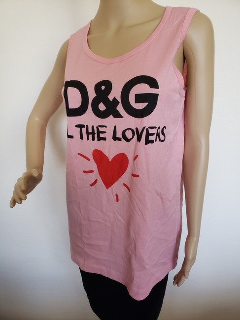 Dolce&Gabbana Logo Monogram Floral Sleeveless All The Lovers T Shirt Pink Image 5