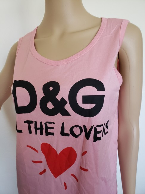 Dolce&Gabbana Logo Monogram Floral Sleeveless All The Lovers T Shirt Pink Image 6