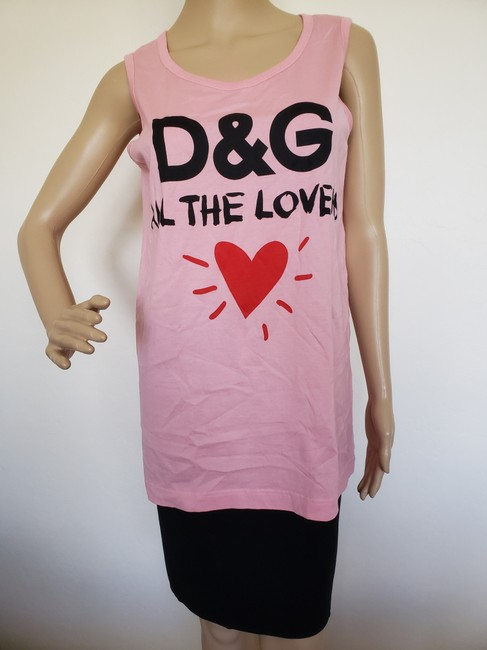 Dolce&Gabbana Logo Monogram Floral Sleeveless All The Lovers T Shirt Pink Image 1