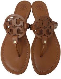 Tory Burch Miller Reva Logo Gold Hardware Patent Leather Brown Sandals