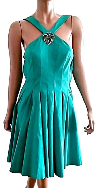 Preload https://img-static.tradesy.com/item/25049960/jessica-simpson-teal-satin-mid-length-night-out-dress-size-12-l-0-1-650-650.jpg