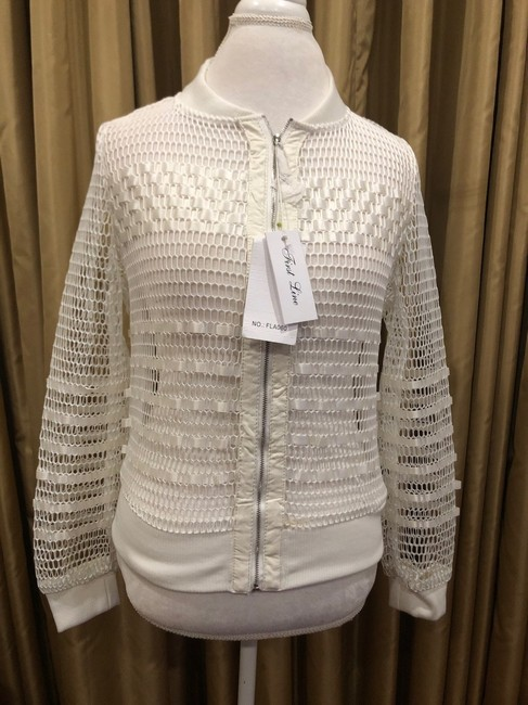 First Liner Zipper Casual White Jacket Image 1