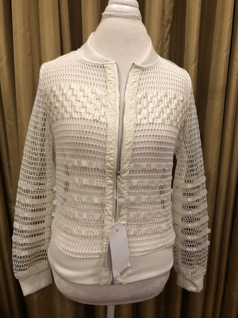 First Liner Zipper Casual White Jacket Image 2