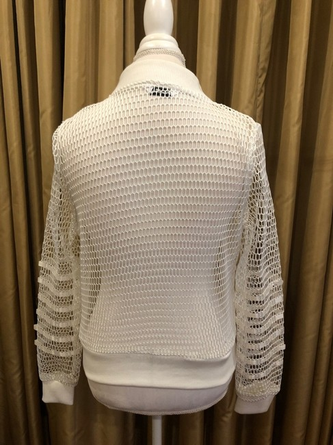 First Liner Zipper Casual White Jacket Image 3
