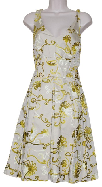 Preload https://img-static.tradesy.com/item/25050038/chetta-b-by-sherrie-bloom-and-peter-noviello-beige-gold-cotton-floral-pleaded-sleeveless-mid-length-0-1-650-650.jpg