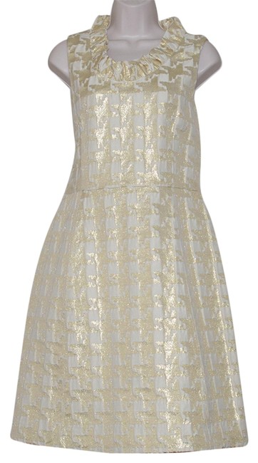 Item - Gold Print Sleeveless Ruffled Neck Party Short Cocktail Dress Size 8 (M)