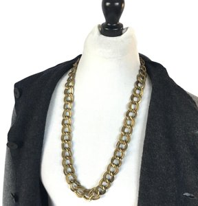 Tory Burch textured brass double chain link necklace