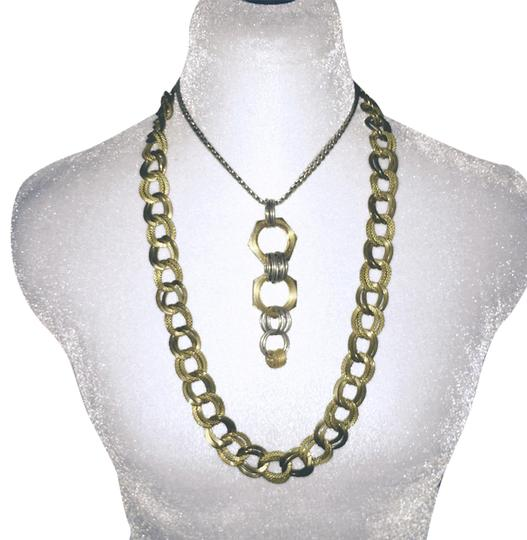 Tory Burch textured brass double chain link necklace Image 2