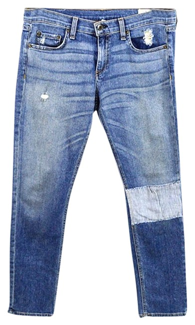 Item - Blue Light Wash 'ludlow' Patchwork Ankle #177-23 Skinny Jeans Size 28 (4, S)