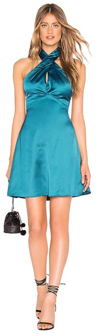 Preload https://img-static.tradesy.com/item/25050123/teal-halter-neck-styling-with-hidden-hook-and-eye-closure-short-casual-dress-size-2-xs-0-1-650-650.jpg