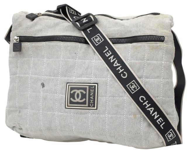 Item - Messenger Quilted Sports Logo Cc 235610 Grey Canvas Cross Body Bag