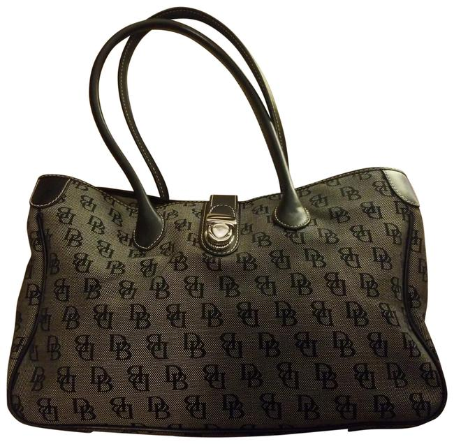 Item - X-large Signature Monogram Quilted Tote Heritage Handles Buckle Closer Black Logo and Light Black Background with Black Leather Trim Silver Hardware Pink Lining Canvas Satchel