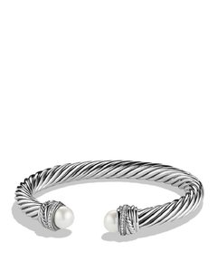 David Yurman Crossover 7mm Bracelet with Pearls and Diamonds