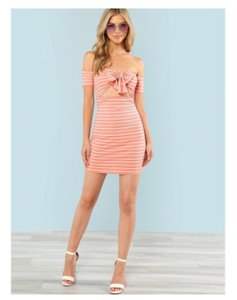 Rival Girl short dress Pink Women Size - Large Striped Bodycon on Tradesy