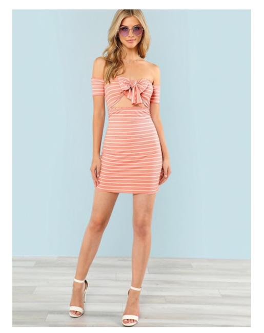 Preload https://img-static.tradesy.com/item/25050210/pink-lettuce-trim-knot-front-bardot-striped-short-casual-dress-size-12-l-0-0-650-650.jpg