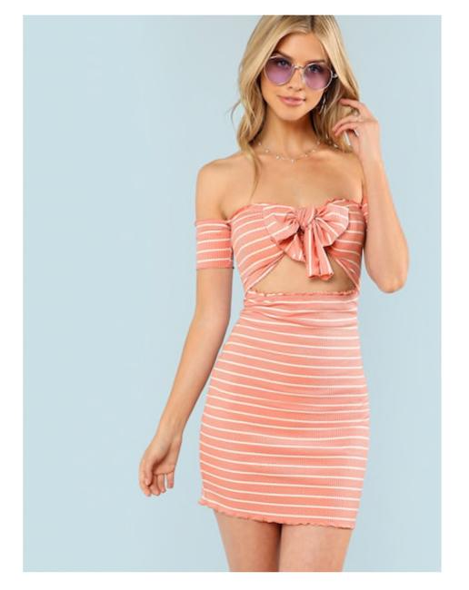 Rival Girl short dress Pink Women Size - Large Striped Bodycon on Tradesy Image 5