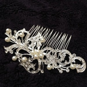 David's Bridal Silver Flower Pearl Cz Diamonds Rhinestone Clip Comb Hair Accessory