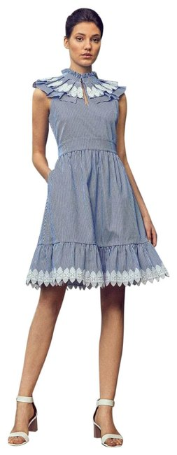 Preload https://img-static.tradesy.com/item/25050227/ted-baker-blue-kikkii-frill-bib-lace-applique-cotton-mid-length-formal-dress-size-12-l-0-5-650-650.jpg