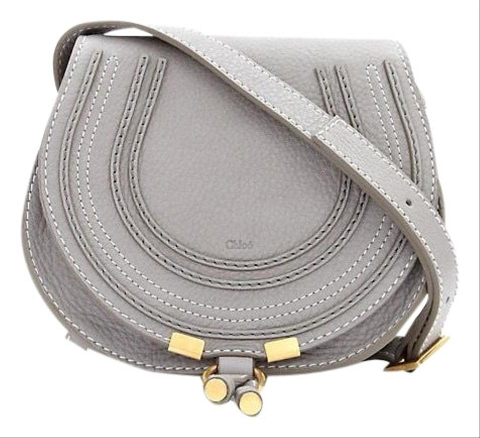 ec05e915e6 Chloé Marcie Small Gray with Gold Hardware Leather Cross Body Bag ...