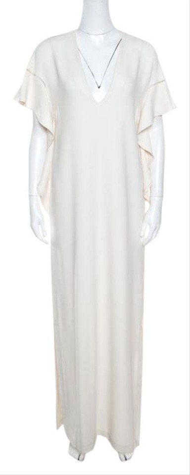 42a675ee64e Elie Saab White Off Ladder Lace Ruffled Sleeve Slit Detail Casual Maxi Dress