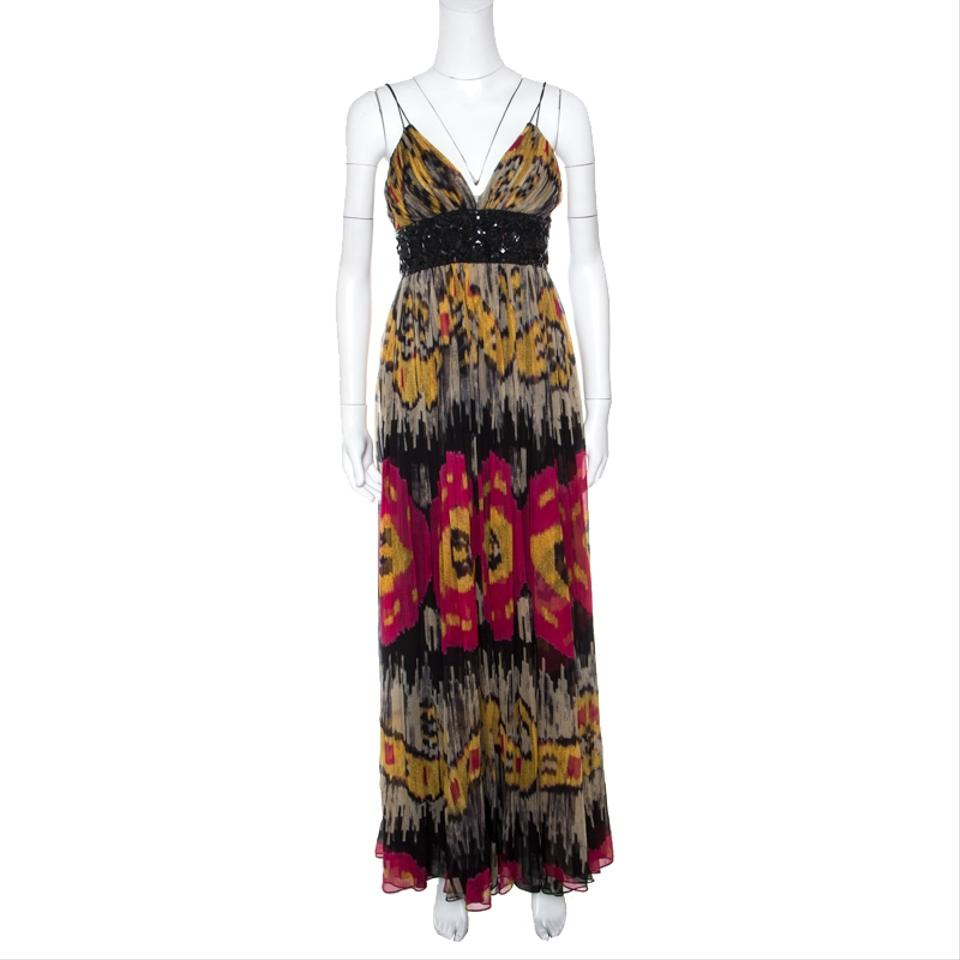 97a1b210 Marchesa Notte Multicolor Ikkat Printed Silk Embellished Sleeveless Gown S  Casual Maxi Dress