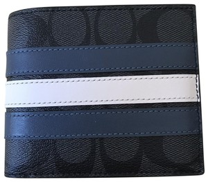 Coach $175 NWT 3-IN-1 Wallet in Signature Canvas with Varsity Stripe F26072