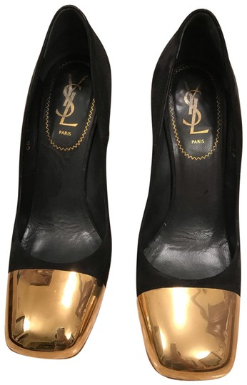 Saint Laurent black suede and gold tone metal Pumps Image 0