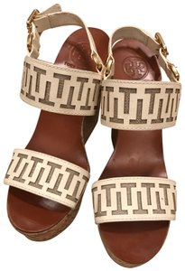 Tory Burch White leather and tan wedge Wedges