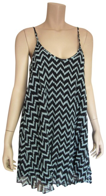 Item - Blak Blue Chevron Spaghetti Adjustable Strap A Line Party Mid-length Cocktail Dress Size 6 (S)