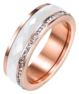 Boutique Faceted Ceramic CZ Rose Gold Plated Titanium Spinner Band