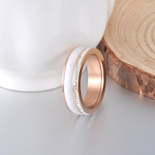 Boutique Faceted Ceramic CZ Rose Gold Plated Titanium Spinner Band Image 1