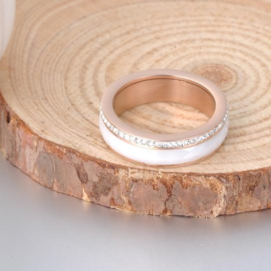 Boutique Faceted Ceramic CZ Rose Gold Plated Titanium Spinner Band Image 2