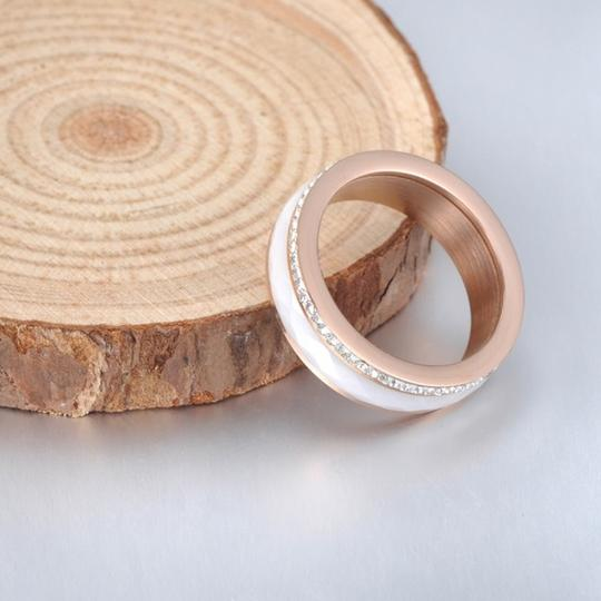 Boutique Faceted Ceramic CZ Rose Gold Plated Titanium Spinner Band Image 3