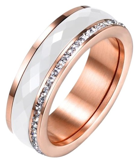 Preload https://img-static.tradesy.com/item/25050693/rose-gold-and-white-faceted-ceramic-cz-plated-titanium-ring-0-1-540-540.jpg